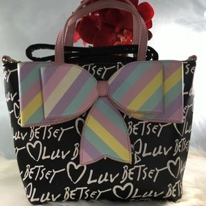 Betsey Johnson Luv Double Bow Tote Purse 👜🎀🌈